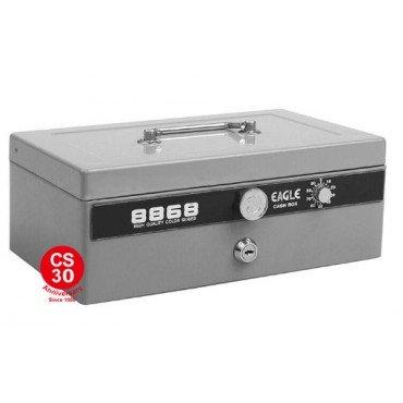 Eagle 8868L 大部手提錢箱-灰色 (雙重保安有密碼和鎖匙)